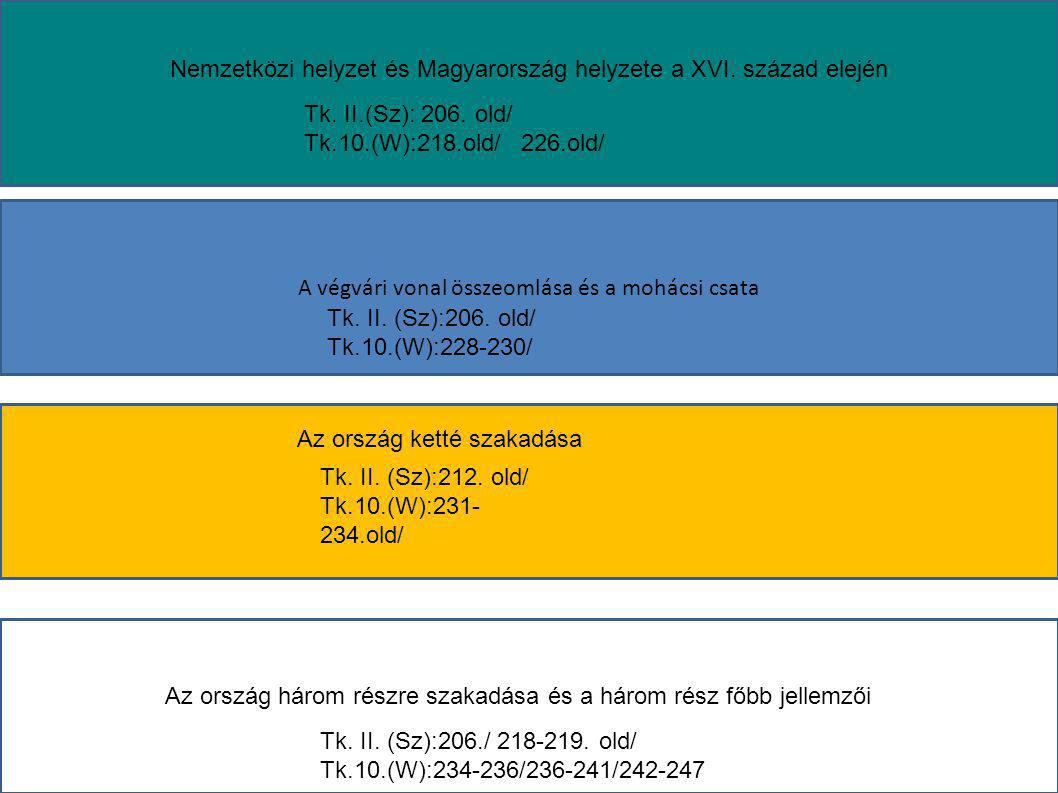 Jagelló Ulászló Belsőleg megosztott Katonailag felkészületlen Külpolitikailag elszigetelt Szulejmán Nándorfehérvár Mohács1526 I.