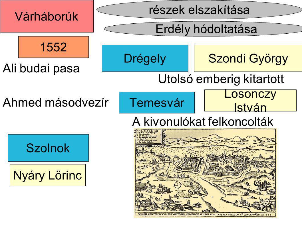 Drégely Temesvár részek elszakítása Erdély hódoltatása Várháborúk 1552 Szondi György Losonczy István Szolnok Nyáry Lörinc Ali budai pasa Ahmed másodve