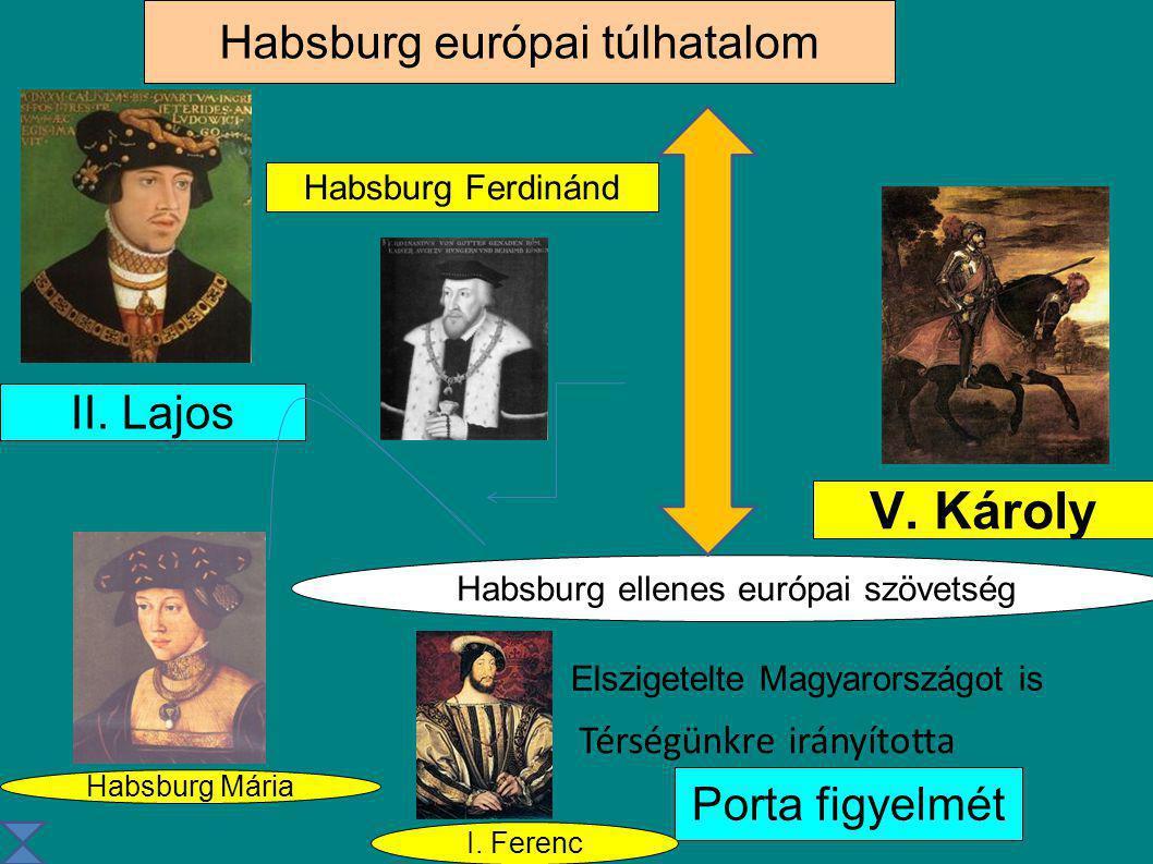 Habsburg európai túlhatalom V. Károly II. Lajos Habsburg Mária Habsburg ellenes európai szövetség Elszigetelte Magyarországot is Porta figyelmét Habsb