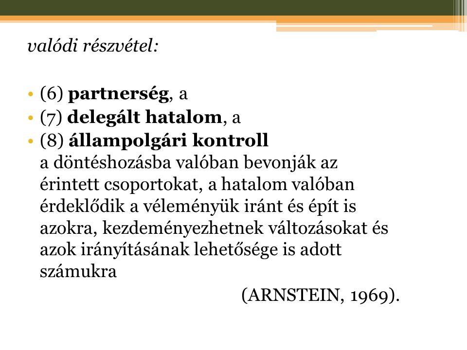 valódi részvétel: (6) partnerség, a (7) delegált hatalom, a (8) állampolgári kontroll a döntéshozásba valóban bevonják az érintett csoportokat, a hatalom valóban érdeklődik a véleményük iránt és épít is azokra, kezdeményezhetnek változásokat és azok irányításának lehetősége is adott számukra (ARNSTEIN, 1969).