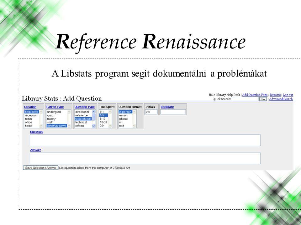 A Libstats program segít dokumentálni a problémákat Reference Renaissance
