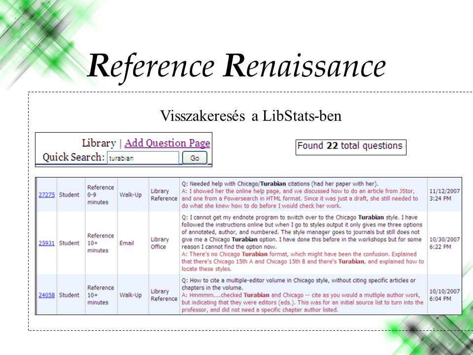 Visszakeresés a LibStats-ben Reference Renaissance