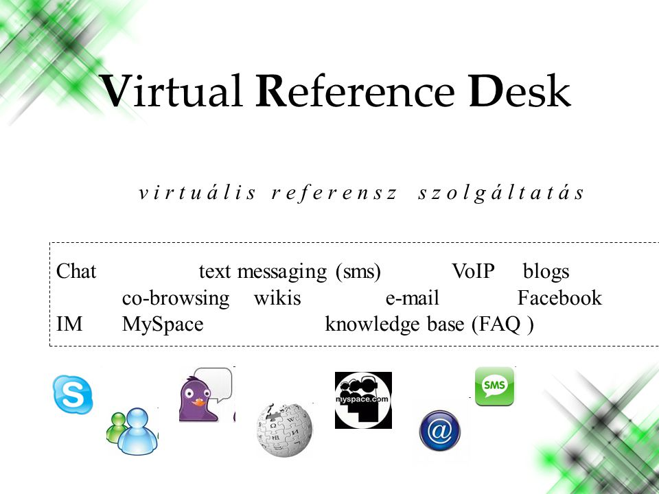 v i r t u á l i s r e f e r e n s z s z o l g á l t a t á s Chat text messaging (sms)VoIP blogs co-browsing wikise-mailFacebook IMMySpace knowledge base (FAQ ) Virtual Reference Desk