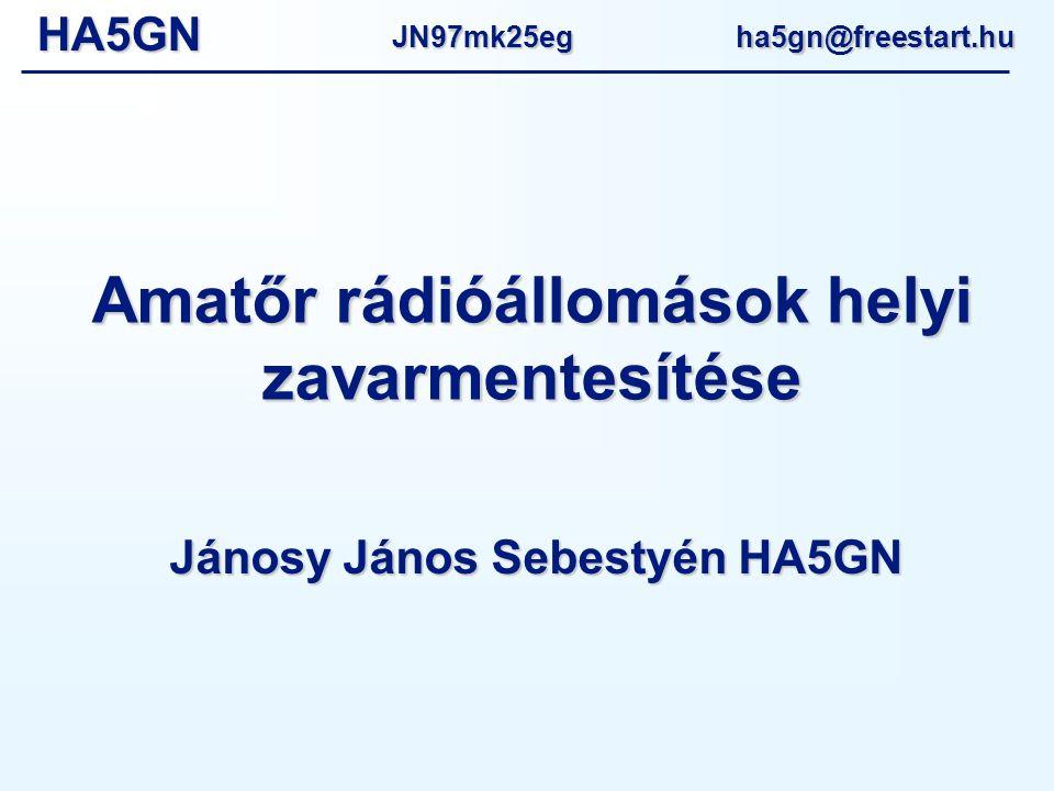 HA5GNJN97mk25eg ha5gn@freestart.hu Amatőr rádióállomások helyi zavarmentesítése Jánosy János Sebestyén HA5GN