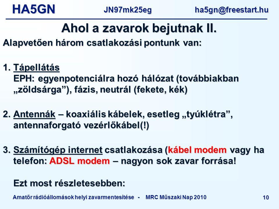 HA5GNJN97mk25eg ha5gn@freestart.hu Amatőr rádióállomások helyi zavarmentesítése - MRC Műszaki Nap 2010 10 Ahol a zavarok bejutnak II.