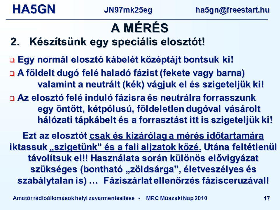 HA5GNJN97mk25eg ha5gn@freestart.hu Amatőr rádióállomások helyi zavarmentesítése - MRC Műszaki Nap 2010 17 A MÉRÉS 2.Készítsünk egy speciális elosztót.