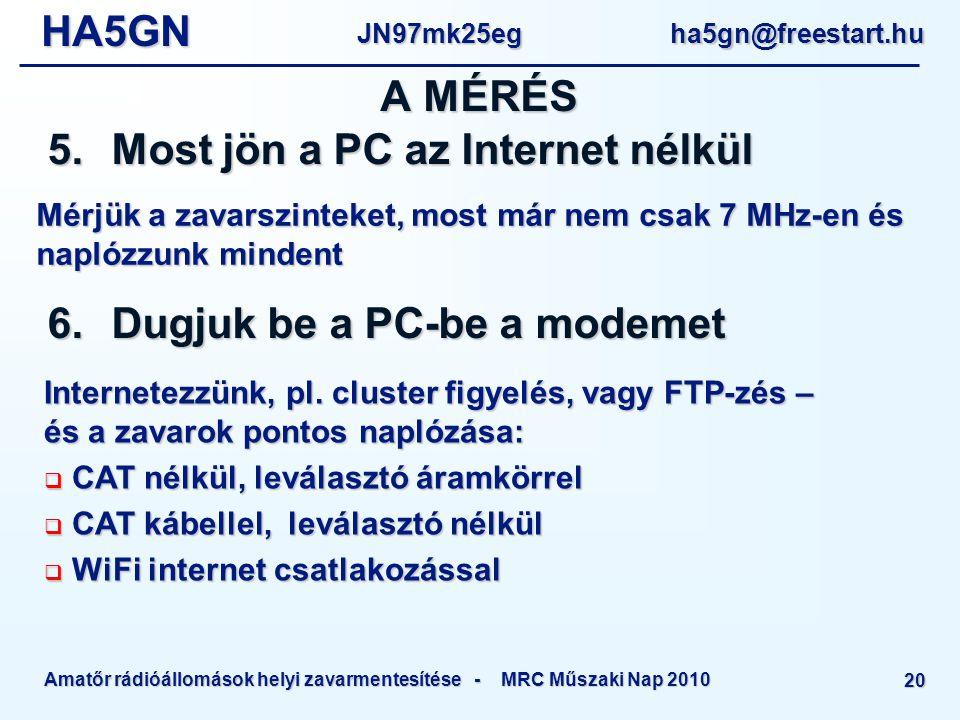 HA5GNJN97mk25eg ha5gn@freestart.hu Amatőr rádióállomások helyi zavarmentesítése - MRC Műszaki Nap 2010 20 Mérjük a zavarszinteket, most már nem csak 7 MHz-en és naplózzunk mindent A MÉRÉS 5.Most jön a PC az Internet nélkül 6.Dugjuk be a PC-be a modemet Internetezzünk, pl.