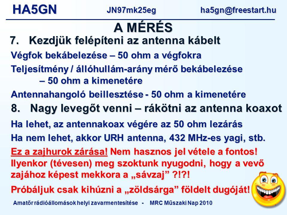 HA5GNJN97mk25eg ha5gn@freestart.hu Amatőr rádióállomások helyi zavarmentesítése - MRC Műszaki Nap 2010 21 Végfok bekábelezése – 50 ohm a végfokra Teljesítmény / állóhullám-arány mérő bekábelezése – 50 ohm a kimenetére Antennahangoló beillesztése - 50 ohm a kimenetére A MÉRÉS 7.Kezdjük felépíteni az antenna kábelt 8.Nagy levegőt venni – rákötni az antenna koaxot Ha lehet, az antennakoax végére az 50 ohm lezárás Ha nem lehet, akkor URH antenna, 432 MHz-es yagi, stb.