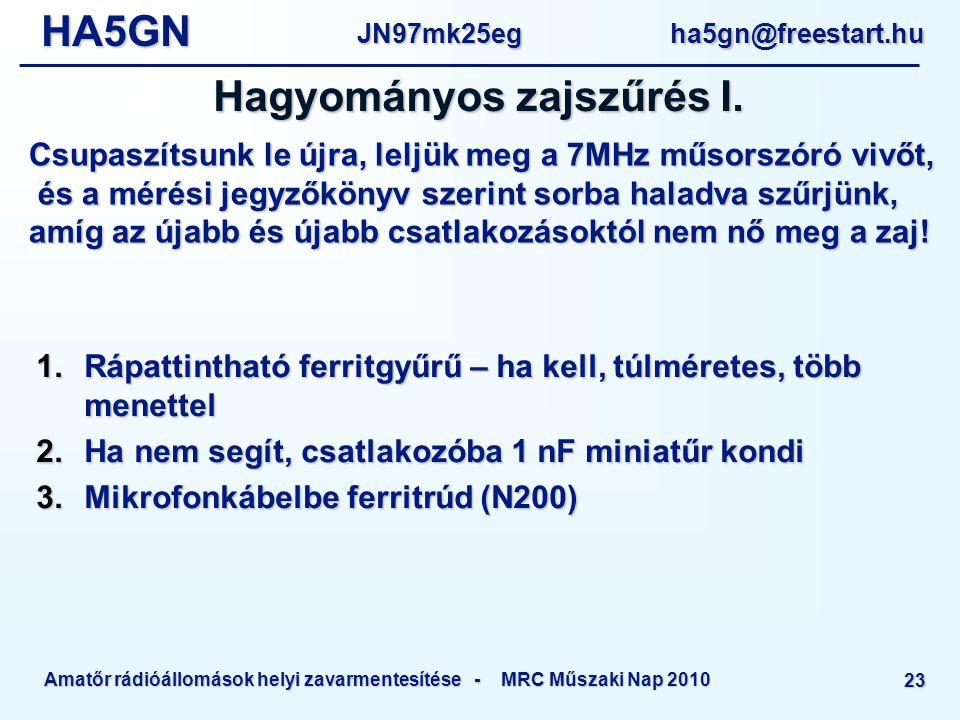 HA5GNJN97mk25eg ha5gn@freestart.hu Amatőr rádióállomások helyi zavarmentesítése - MRC Műszaki Nap 2010 23  Rápattintható ferritgyűrű – ha kell, túlméretes, több menettel  Ha nem segít, csatlakozóba 1 nF miniatűr kondi  Mikrofonkábelbe ferritrúd (N200) Hagyományos zajszűrés I.