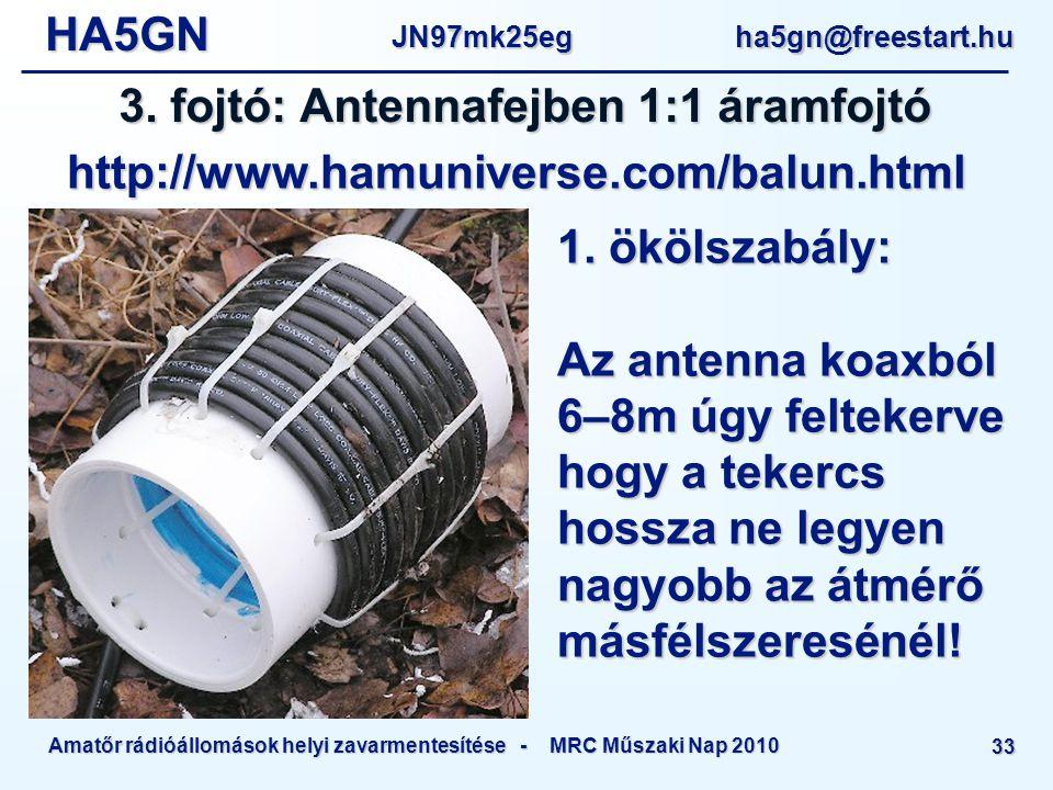 HA5GNJN97mk25eg ha5gn@freestart.hu Amatőr rádióállomások helyi zavarmentesítése - MRC Műszaki Nap 2010 33 3.