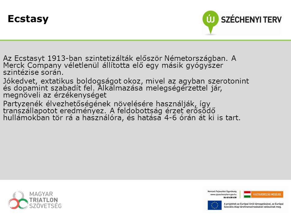 Az Ecstasyt 1913-ban szintetizálták először Németországban. A Merck Company véletlenül állította elő egy másik gyógyszer szintézise során. Jókedvet, e