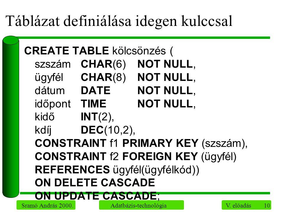 10 Sramó András 2000. Adatbázis-technológia V. előadás Táblázat definiálása idegen kulccsal CREATE TABLE kölcsönzés ( szszámCHAR(6)NOT NULL, ügyfélCHA