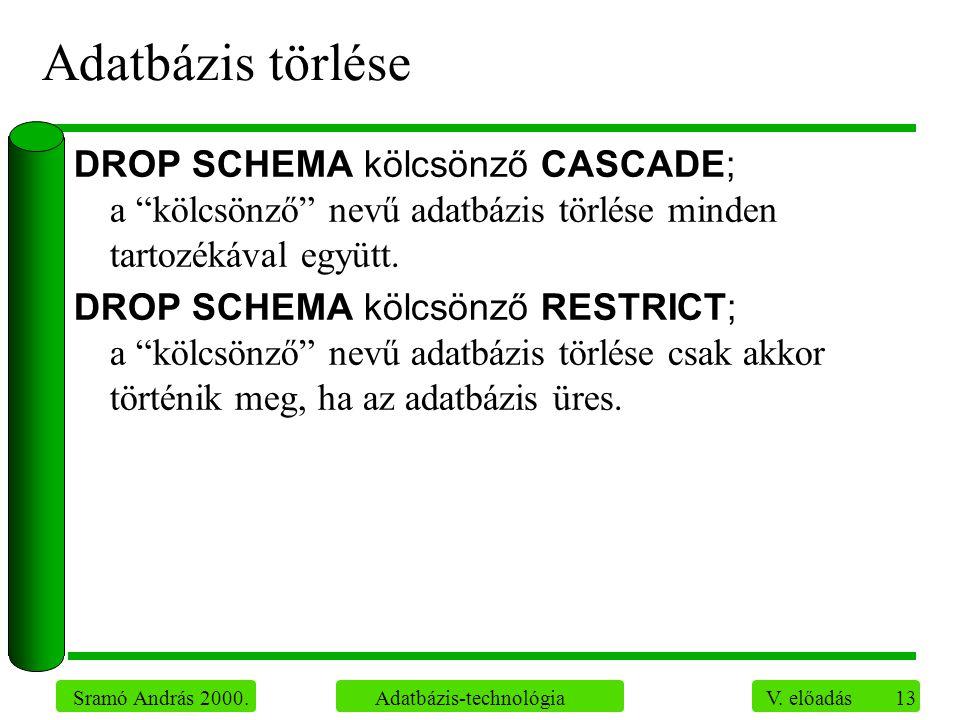 """13 Sramó András 2000. Adatbázis-technológia V. előadás Adatbázis törlése DROP SCHEMA kölcsönző CASCADE; a """"kölcsönző"""" nevű adatbázis törlése minden ta"""