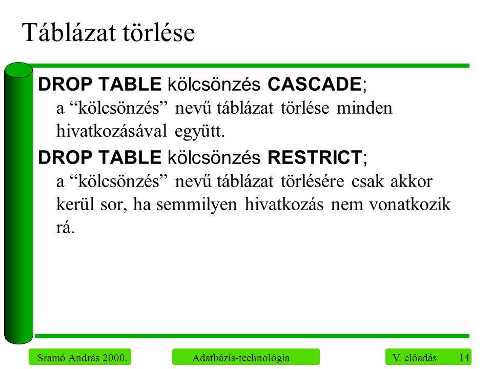 """14 Sramó András 2000. Adatbázis-technológia V. előadás Táblázat törlése DROP TABLE kölcsönzés CASCADE; a """"kölcsönzés"""" nevű táblázat törlése minden hiv"""