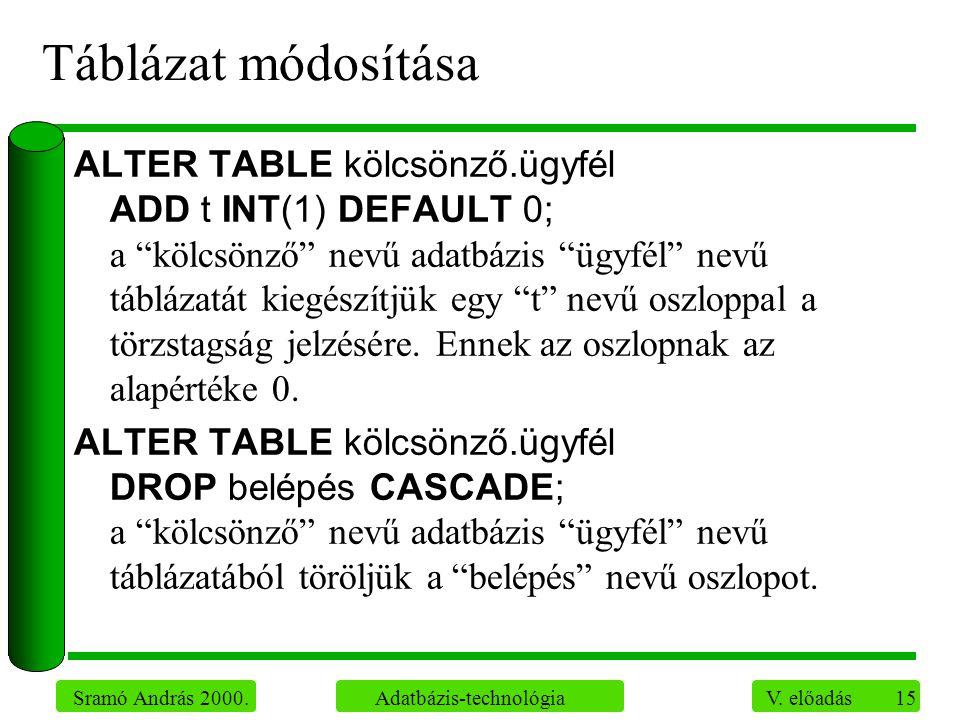 """15 Sramó András 2000. Adatbázis-technológia V. előadás Táblázat módosítása ALTER TABLE kölcsönző.ügyfél ADD t INT(1) DEFAULT 0; a """"kölcsönző"""" nevű ada"""