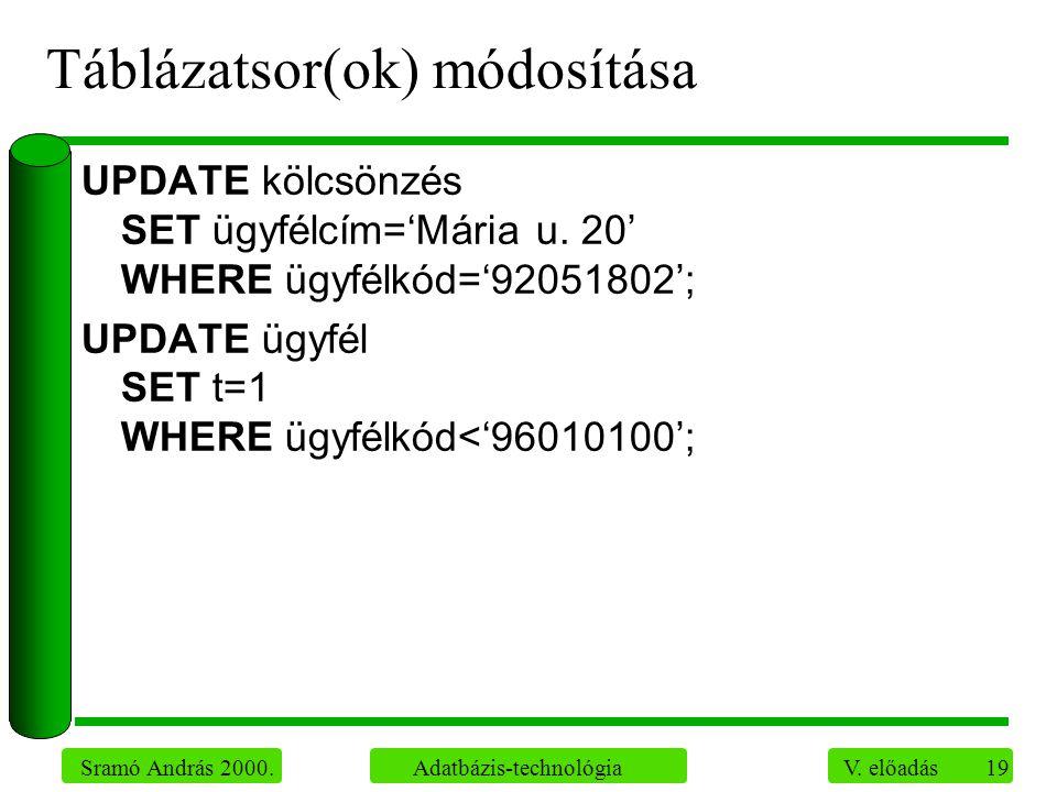 19 Sramó András 2000. Adatbázis-technológia V.
