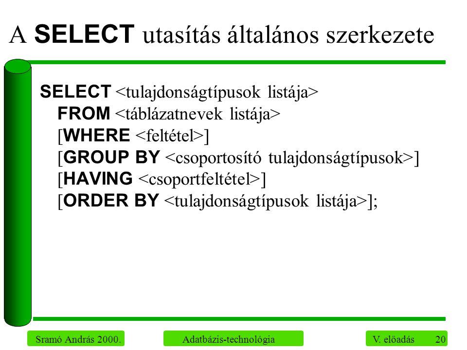 20 Sramó András 2000. Adatbázis-technológia V. előadás A SELECT utasítás általános szerkezete SELECT FROM [ WHERE ] [ GROUP BY ] [ HAVING ] [ ORDER BY
