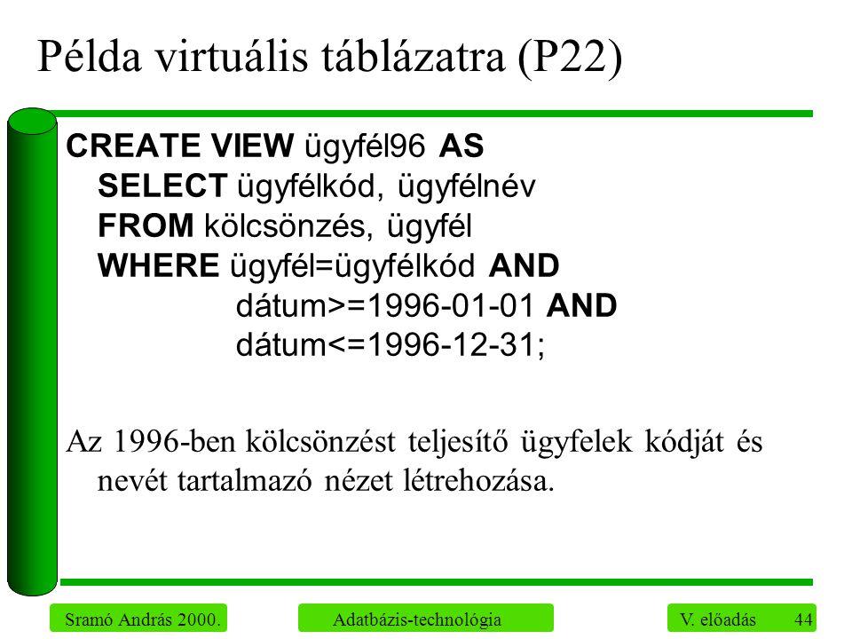 44 Sramó András 2000. Adatbázis-technológia V. előadás Példa virtuális táblázatra (P22) CREATE VIEW ügyfél96 AS SELECT ügyfélkód, ügyfélnév FROM kölcs