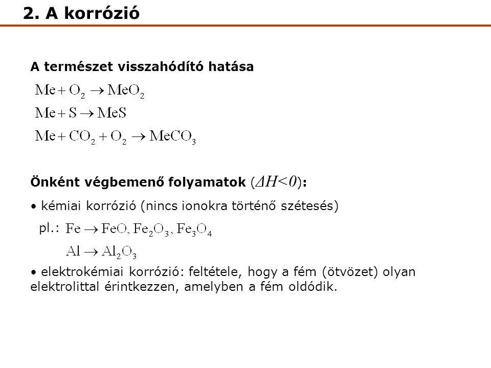 2. A korrózió A természet visszahódító hatása Önként végbemenő folyamatok ( ΔH<0 ): kémiai korrózió (nincs ionokra történő szétesés) pl.: elektrokémia