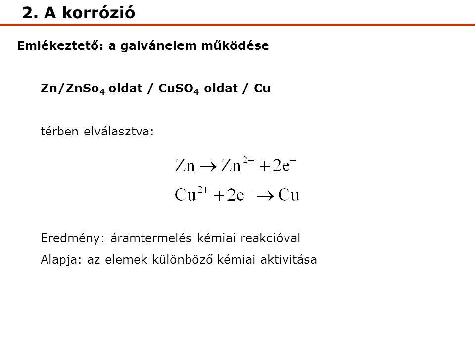 Emlékeztető: a galvánelem működése Zn/ZnSo 4 oldat / CuSO 4 oldat / Cu térben elválasztva: Eredmény: áramtermelés kémiai reakcióval Alapja: az elemek