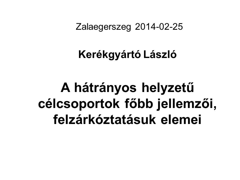 Zalaegerszeg 2014-02-25 Kerékgyártó László A hátrányos helyzetű célcsoportok főbb jellemzői, felzárkóztatásuk elemei