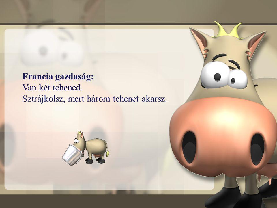 Francia gazdaság: Van két tehened. Sztrájkolsz, mert három tehenet akarsz.