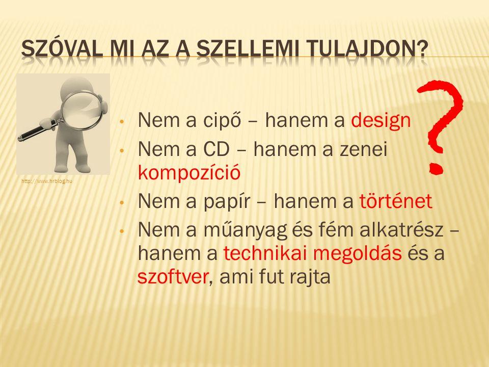 Nem a cipő – hanem a design Nem a CD – hanem a zenei kompozíció Nem a papír – hanem a történet Nem a műanyag és fém alkatrész – hanem a technikai megoldás és a szoftver, ami fut rajta http://www.hrblog.hu