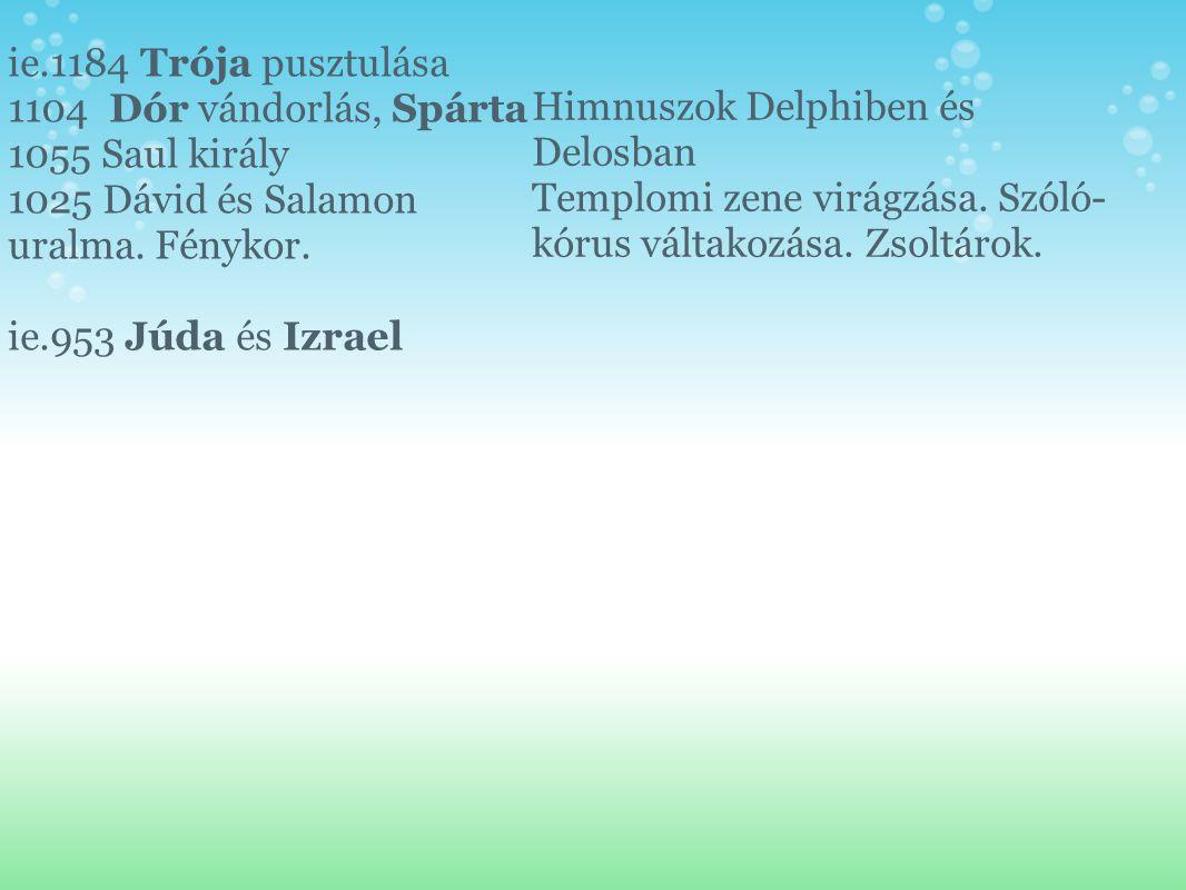 ie.1184 Trója pusztulása 1104 Dór vándorlás, Spárta 1055 Saul király 1025 Dávid és Salamon uralma. Fénykor. ie.953 Júda és Izrael Himnuszok Delphiben