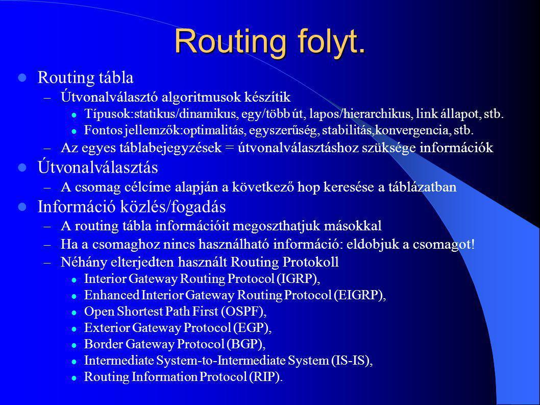 Routing folyt. Routing tábla – Útvonalválasztó algoritmusok készítik Típusok:statikus/dinamikus, egy/több út, lapos/hierarchikus, link állapot, stb. F