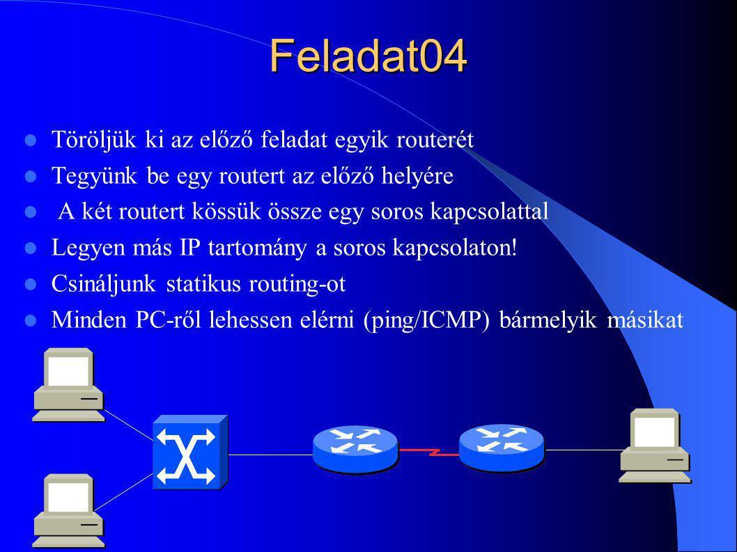Feladat04 Töröljük ki az előző feladat egyik routerét Tegyünk be egy routert az előző helyére A két routert kössük össze egy soros kapcsolattal Legyen