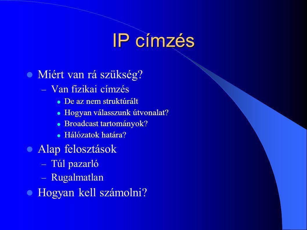 IP címzés Miért van rá szükség? – Van fizikai címzés De az nem struktúrált Hogyan válasszunk útvonalat? Broadcast tartományok? Hálózatok határa? Alap