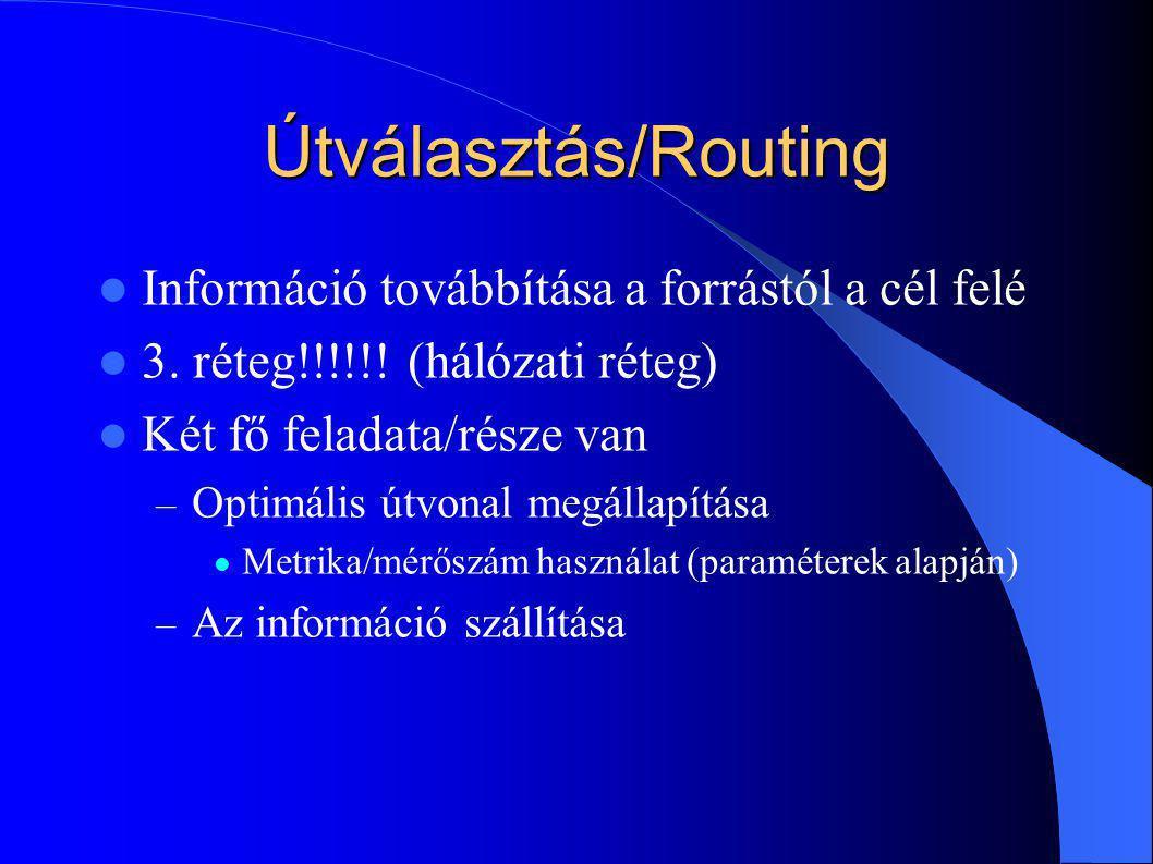 Útválasztás/Routing Információ továbbítása a forrástól a cél felé 3. réteg!!!!!! (hálózati réteg) Két fő feladata/része van – Optimális útvonal megáll