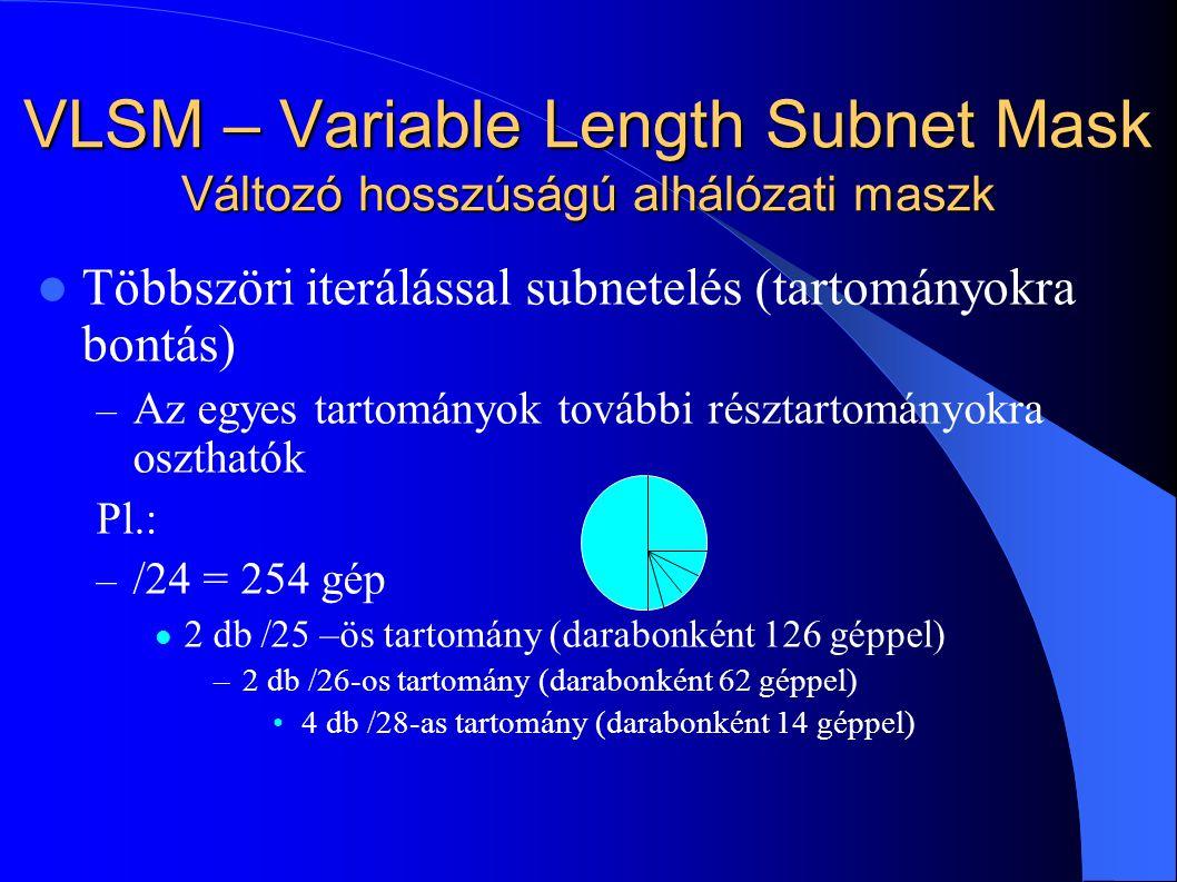 VLSM – Variable Length Subnet Mask Változó hosszúságú alhálózati maszk Többszöri iterálással subnetelés (tartományokra bontás) – Az egyes tartományok