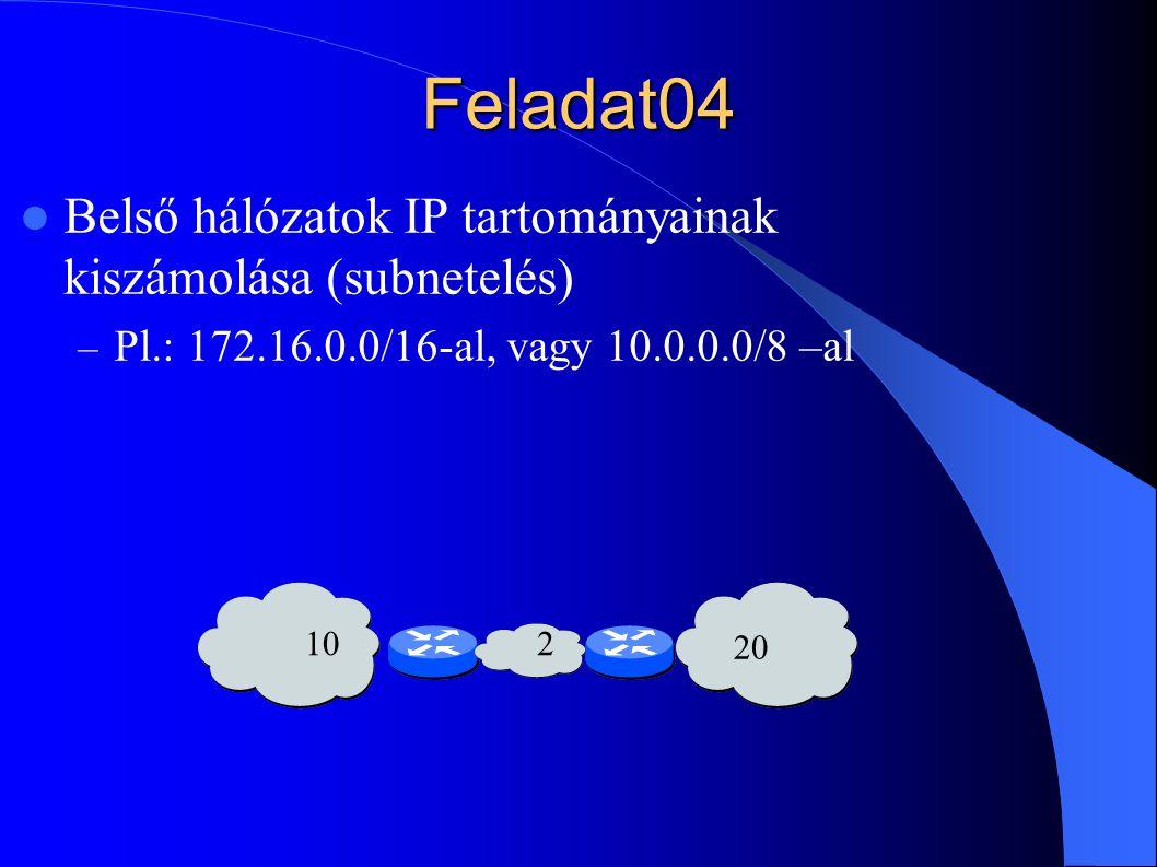 Feladat04 Belső hálózatok IP tartományainak kiszámolása (subnetelés) – Pl.: 172.16.0.0/16-al, vagy 10.0.0.0/8 –al 102 20