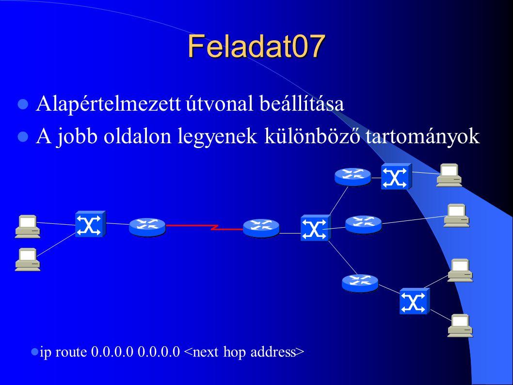 Feladat07 Alapértelmezett útvonal beállítása A jobb oldalon legyenek különböző tartományok ip route 0.0.0.0 0.0.0.0
