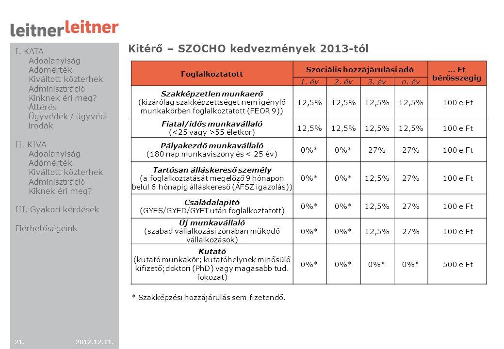 2012.12.11. 21. Kitérő – SZOCHO kedvezmények 2013-tól Foglalkoztatott Szociális hozzájárulási adó … Ft bérösszegig 1. év2. év3. évn. év Szakképzetlen
