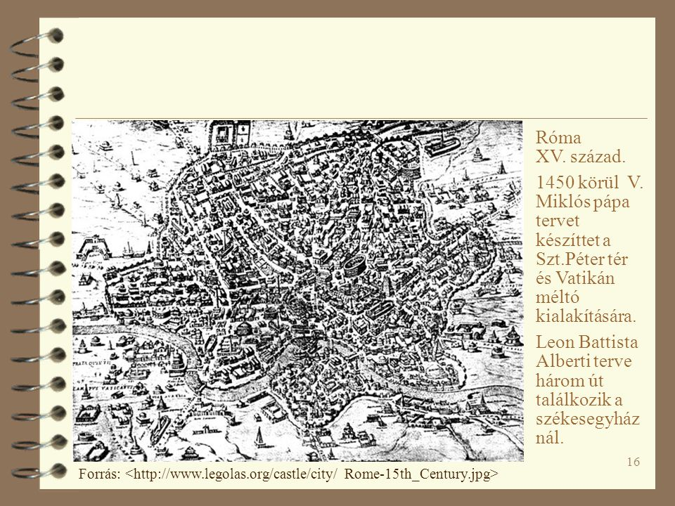16 Róma XV. század. 1450 körül V. Miklós pápa tervet készíttet a Szt.Péter tér és Vatikán méltó kialakítására. Leon Battista Alberti terve három út ta