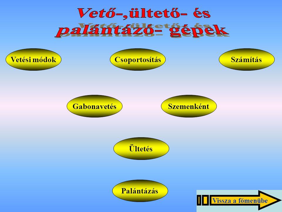 Gabonavetőgépek felépítése - magtartály: fedél, rugó, boltozódás-gátló, tolóka, - vetőszerkezet: vetőház, tolóbütyök (tolóhenger), vetőnyelv, nyelvtengely, állítócsavarok, - csoroszlya: csúszó, tárcsás, - járó, függesztő, vonószerkezet, - gépkeret, - hajtó és kiemelő szerkezet, - nyomjelző, - kiegészítő részek: fellépő, ösztöke.