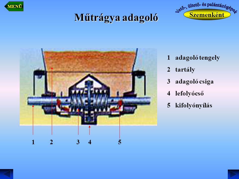 Műtrágya adagoló Szemenként MENÜ 1 adagoló tengely 2 tartály 3 adagoló csiga 4 lefolyócső 5 kifolyónyílás 1 2 3 4 5
