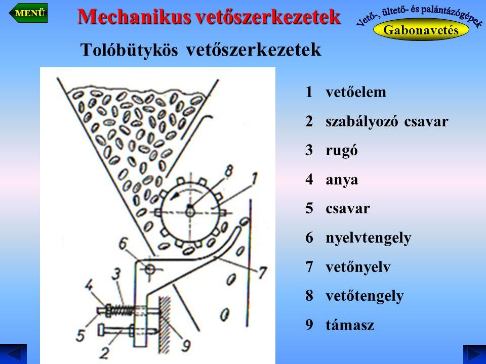 Tolóbütykös vetőszerkezetek Gabonavetés MENÜ 1 vetőelem 2 szabályozó csavar 3 rugó 4 anya 5 csavar 6 nyelvtengely 7 vetőnyelv 8 vetőtengely 9 támasz M