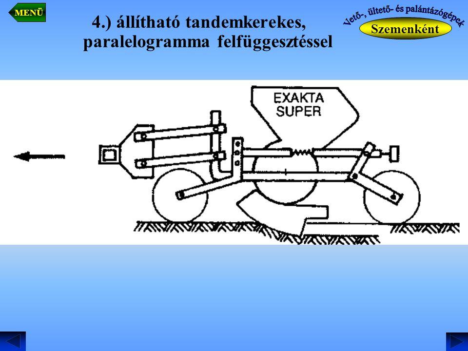 4.) állítható tandemkerekes, paralelogramma felfüggesztéssel Szemenként MENÜ