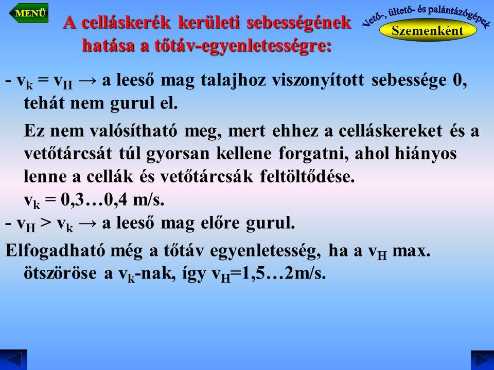 A celláskerék kerületi sebességének hatása a tőtáv-egyenletességre: - v k = v H → a leeső mag talajhoz viszonyított sebessége 0, tehát nem gurul el. E
