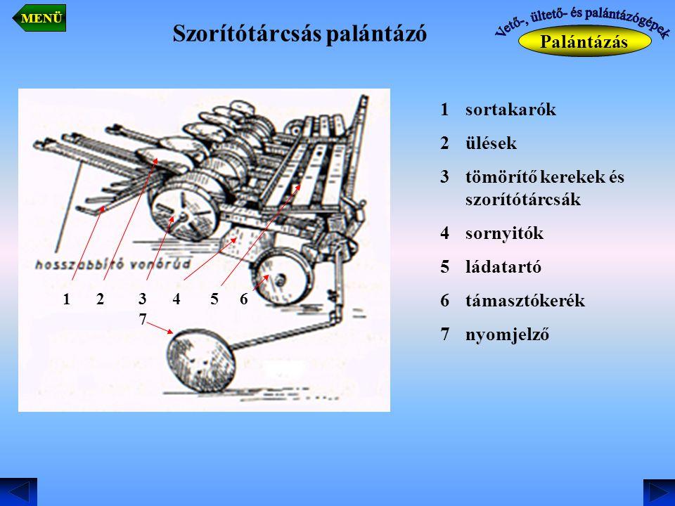 Szorítótárcsás palántázó Palántázás MENÜ 1sortakarók 2ülések 3tömörítő kerekek és szorítótárcsák 4sornyitók 5ládatartó 6támasztókerék 7nyomjelző 1 2 3