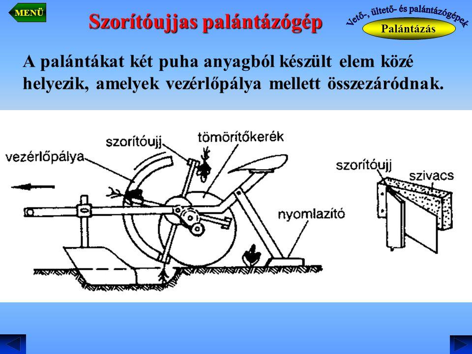 A palántákat két puha anyagból készült elem közé helyezik, amelyek vezérlőpálya mellett összezáródnak. Palántázás MENÜ Szorítóujjas palántázógép