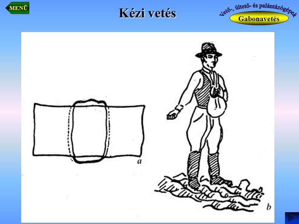 Működése -vetőeleme járókerékről hajtott kúpos furatú vetődob, amelyen a vetendő mag méretének megfelelő furatok találhatók, -vetődob alján 5-7 cm-es rétegvastagságban helyezkednek el a magvak, -túlnyomás hatására a magvak a kúpos furatokba tapadnak, -a fölösleges magvakat kefés maglesodró távolítja el, -amikor a furatokat a gumihengerek lefedik (6 db), magvak a magelosztó tölcsérbe esnek, ahonnan a nyomólevegő szállítja tovább a barázdába, -tőtávolság a vetődob cseréjével és az áttételi viszony változtatásával változtatható, -alkalmazott vetőgéptípus IH CYCLO 10-800, -a vetőgép vontatott 6 soros kukorica és napraforgó szemenkénti vetésére alkalmazzák.