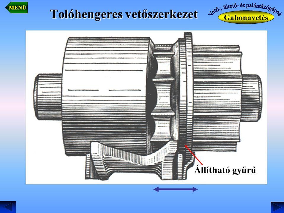 Tolóhengeres vetőszerkezet Gabonavetés MENÜ Állítható gyűrű