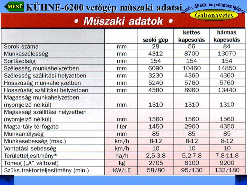 MENÜ Gabonavetés KÜHNE-6200 vetőgép műszaki adatai