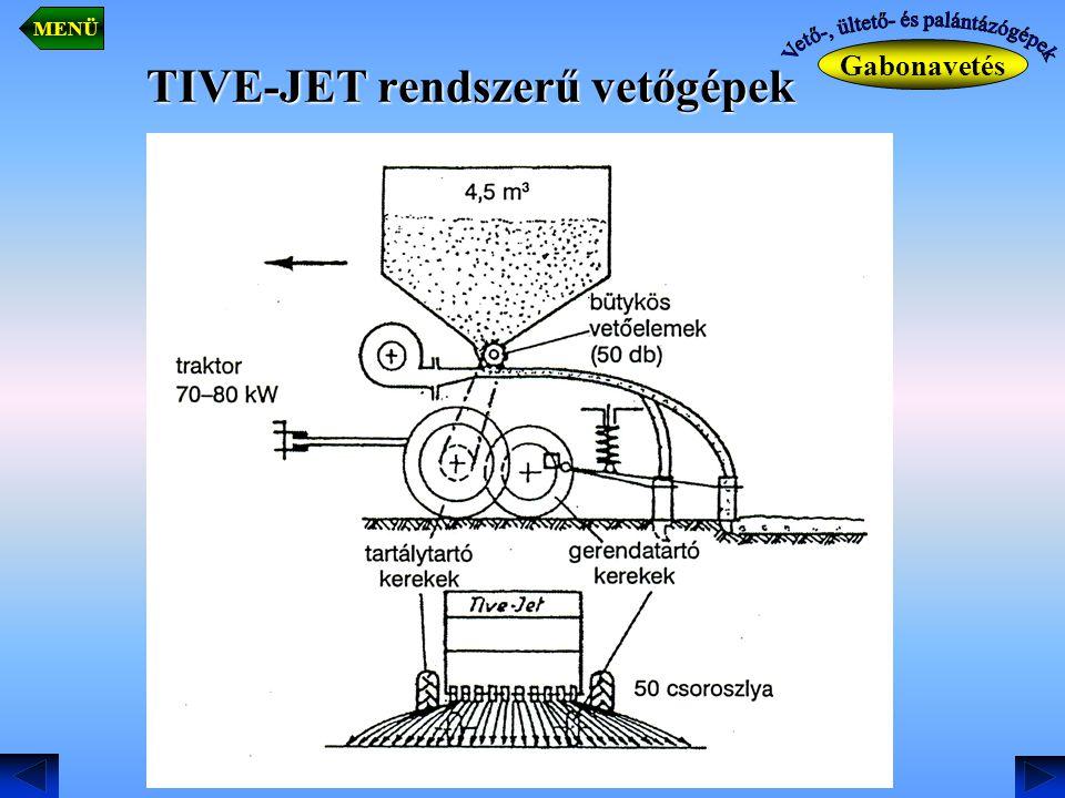 TIVE-JET rendszerű vetőgépek. Gabonavetés MENÜ