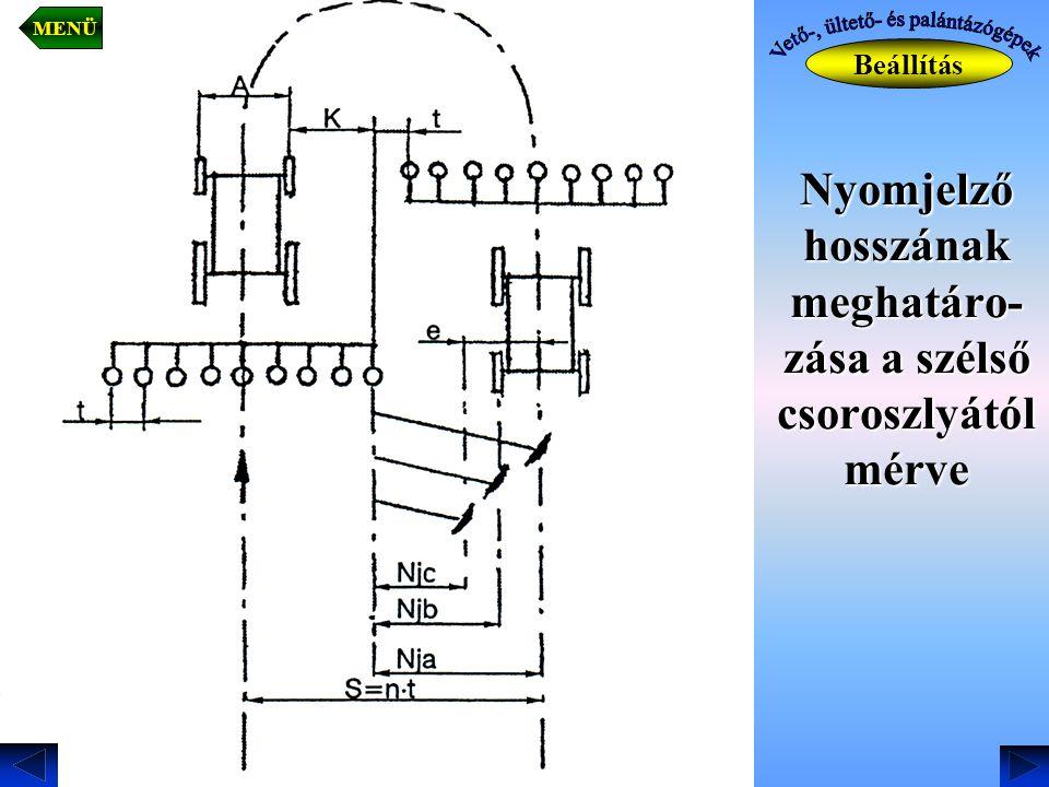Nyomjelző hosszának meghatáro- zása a szélső csoroszlyától mérve Beállítás MENÜ