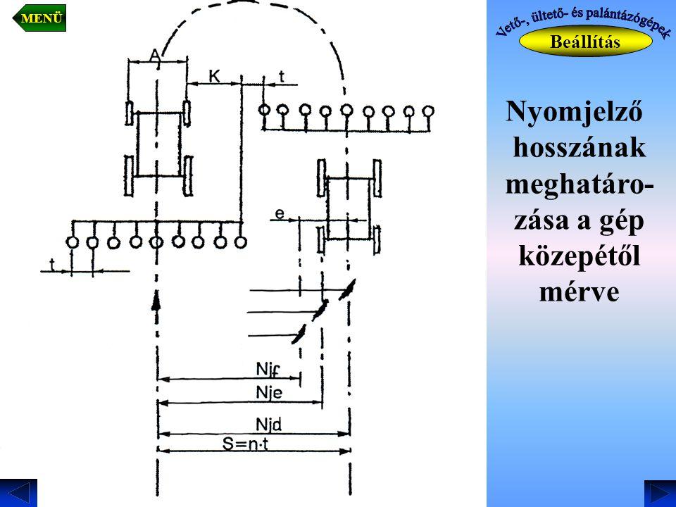 Nyomjelző hosszának meghatáro- zása a gép közepétől mérve Beállítás MENÜ